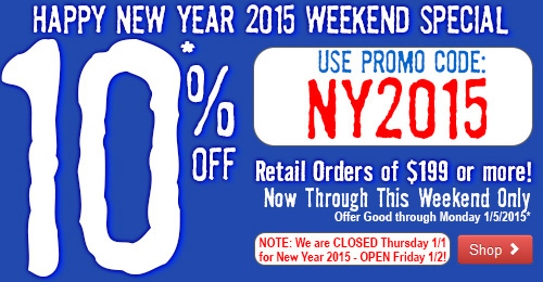10% Off Retail Orders of $199 or more Now Through Monday 1/5/2015!